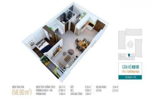 Kẹt tiền cần bán gấp căn hộ Tara q8,68m2 ,2pn ,2wc giá:1ty7