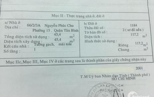 Bán nhà Hẻm 3m Nguyễn Phúc Chu. DT: 4.65m x 25m. Giá 5,1 tỷ