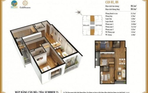 Chính chủ bán căn 08 tòa summer 2 dự án Goldseason. Dtích 96,63m2 - 3pn, full nội thất cao cấp  giá 3.088.000.000 đ