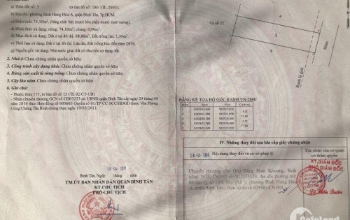 Bán Đất Hẻm Đẹp 499/ Đường Mã Lò, DT: 4.20 x 18M, Giá: 2.8 Tỷ