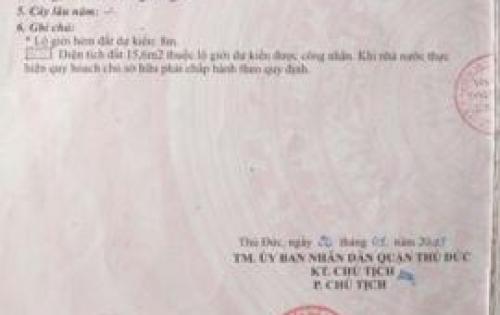Bán lô đất thổ cư đường 22 Phạm Văn Đồng, Phường HIệp Bình Chánh, Quận Thức Đức, TPHCM