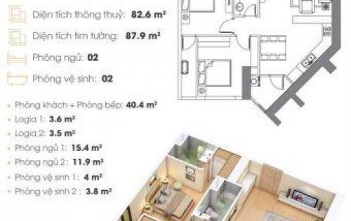 Nhanh tay sở hữu ngay căn hộ Cao Cấp 82,6m2-2PN tại Ngã Tư Trung Tâm Quận Cầu Giấy