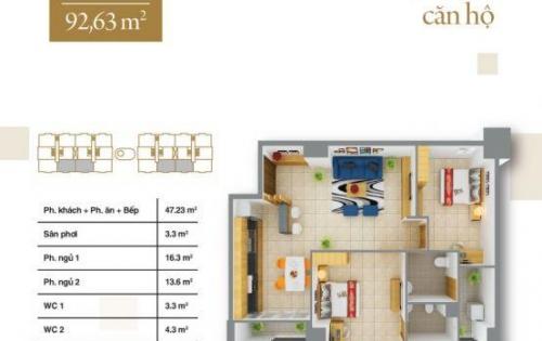 Bán căn hộ 93m2 - 2PN - 2WC giá 1,6 tỷ