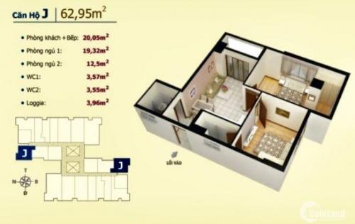 Căn hộ 60m2, sổ hồng,2PN,2wc, căn góc