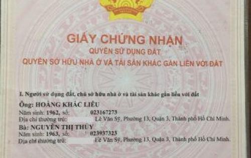 Bán nhà Lê Văn Sỹ Q3, DT 33,4m2, 4,2tỷ -0987098685