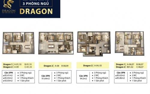 Kẹt tiền bán căn Dragon 1 Cao cấp. 77m2/2PN View ĐN. Chênh lệch 65TR với giá Gốc