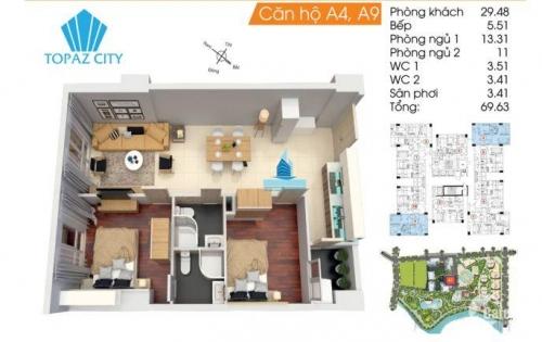 Cần thu hồi vốn bán gấp căn hộ Topaz City quận 8, tầng trung, 70m2, view Q1 cực đẹp