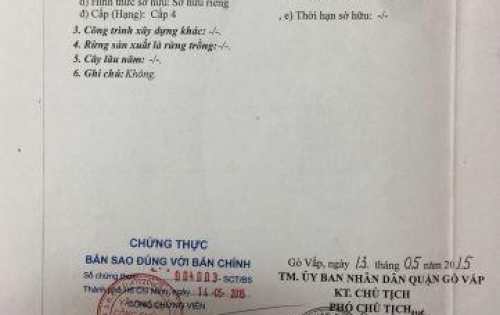 Bán nhà chính chủ, 1 trệt 1 lầu, phường 11, quận Gò Vấp, hẻm đường Quang Trung