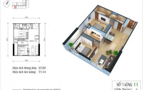 Chính chủ bán cắt lỗ căn DT 71m2 chung cư Eco Green City, giá 1.8 tỷ