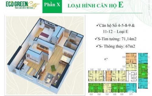 BÁn căn TỐP đẹp số 11, CT4, Eco Green City, 2 ngủ, view thoáng mát, lh 0327054645