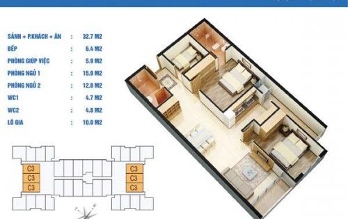 Bán căn 3PN phường Nhân Chính, DT: 93m2, nhận nhà ở ngay, giá từ 27 triệu/m2