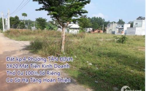 Bán gấp lô đất 5x20m, thổ cư 100%, sổ riêng, P. Tân Định -Tx Bến Cát 590.000.000tr