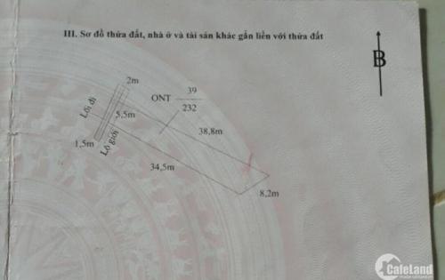 Cần bán gấp đất thổ cư chính chủ DT 232m2 ngang 5,5m dài 40m nở hậu 8m2 thị trấn Cân Giuộc