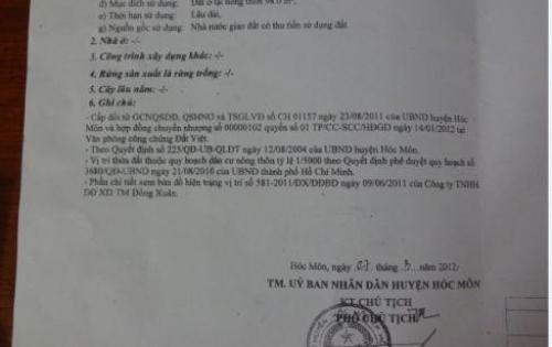 Cần Bán Gấp Lô Đất 98m2 Đường Trịnh Thị Miếng, Hóc Môn, 780tr, Thổ Cư 100%, SHR LH: 0901261620 ( A.Đồng )