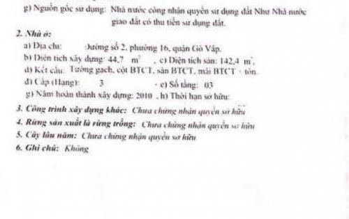 Chính chủ gởi bán căn mặt tiền đường số 2 phường 16 gò vấp, khu vực Gần Nguyễn Văn Lượng .lh:0987955527 (kiều)