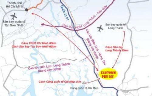Ecotown Phú Mỹ BR-VT, mặt tiền đường Trường Chinh kết nối QL 51, trung tâm hành chính, 11tr/m2