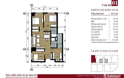 Bán căn số 01, 04 tòa N01-T2 Khu Ngoại giao đoàn giá chỉ 27tr/m2