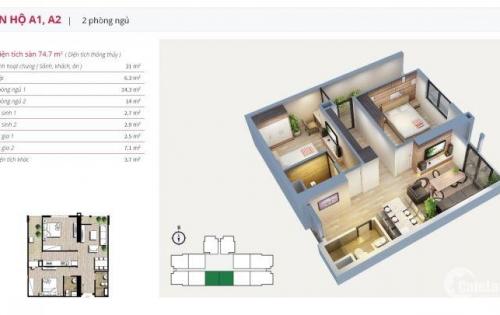Cần bán gấp căn hộ 82m2, cửa hướng tây, giá bán 2,550 tỷ