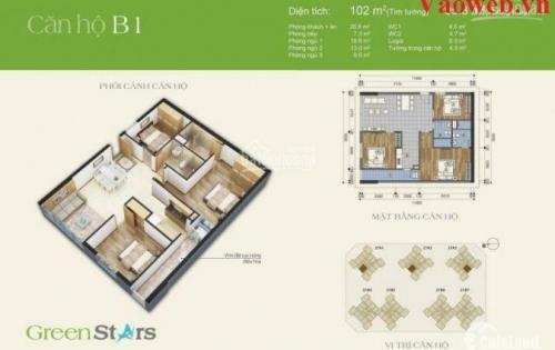 Bán căn 102 m2, tầng trung, tòa 27A3, Dự án Chung cư Green Stars,
