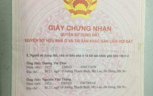 Cần bán nhà đất thổ cư chính chủ tại Hà Đông Hà Nội
