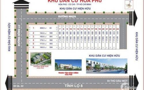 Chỉ với 620 triệu sở hữu ngay lô đất mặt tiền đường Song Lu , xã Hòa Phú ,huyện Củ Chi