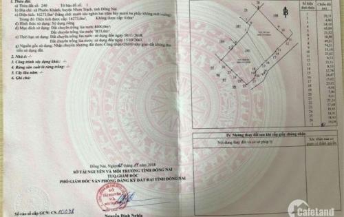 Chắc chắn lời 30% khi đầu tư 1300m2  đất tại Phước Khánh-Nhơn Trạch !!