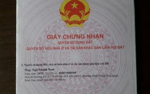 Cần bán CHCC tầng trệt, mặt tiền khu TĐC Vĩnh Lộc B, Q. Bình Chánh.