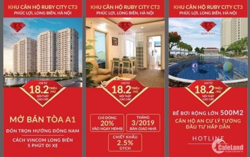 Mở bán Chung cư Ruby City CT3 Phúc Lợi