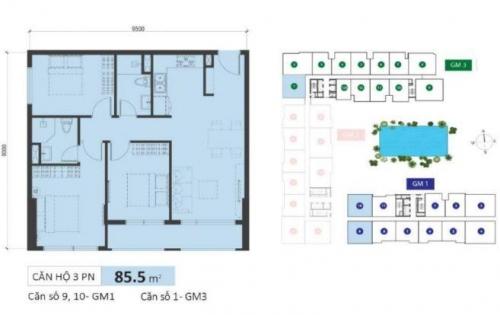 Golden Mansion bán căn hộ thiết kế làm 3PN+ 2WC, giá 3.85m2 GM1, tầng cao, view hướng CV QK7. LH 090.8838.042 Linh
