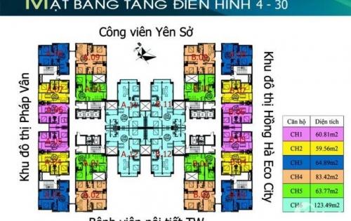 Bán gấp căn hộ chung cư Tứ Hiệp Plaza, tầng 19, .65,5m2, 2PN, giá bán 1 tỷ. LH 0971138578