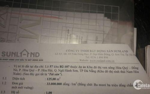 Bán đất lô 57 khu B2-107 thuộc dự án KĐT ven sông Hòa Quý - Đồng Nò
