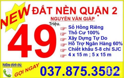 Bán đất nền phường Bình Trưng Đông Quận 2, Nguyễn Văn Giáp 49tr/m2