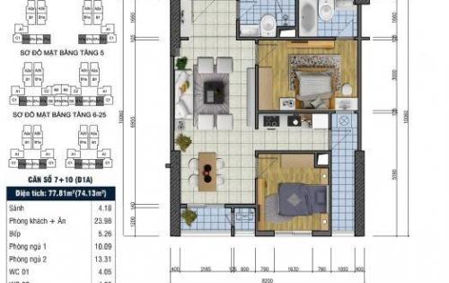 Bán gấp căn hộ Goldsilk Vạn Phúc 74m sđcc 1,9 tỷ (có TL)