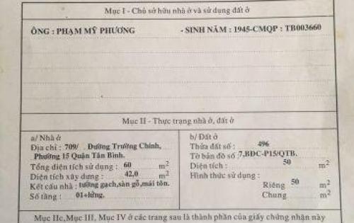 NHÀ VIP Hẻm 4m 1/ DT 50m2 Đường Trường Chinh, Tân Phú chỉ 3.5 tỷ LH 0912943100