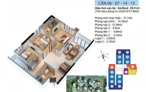 Chính chủ cần bán căn góc 3 ngủ, 94,05m2 , nội thất đẹp, giá 2.880tỷ.