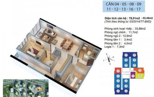 Bán gấp căn hộ 78,7m2, 2ngủ, ban công Tây Bắc, nội thất đầy đủ , giá 2.315tỷ