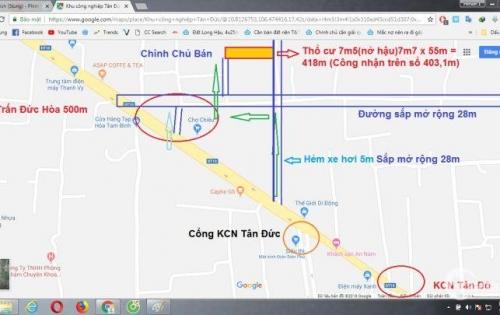 Đất chính chủ,Vị trí đắc địa,đối diện KCN Tân Đức chỉ 5 triệu/1m2