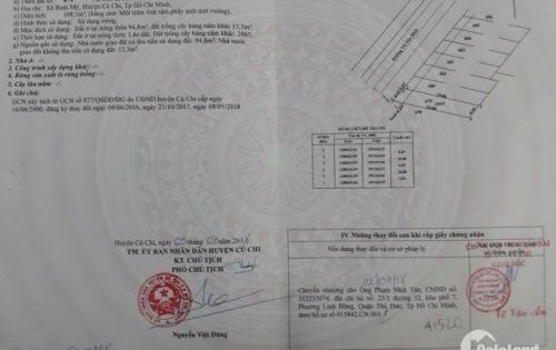 Cần bán gấp lô đất MT Võ Văn Bích, Bình Mỹ kế Cầu Xáng 5x16m, thổ cư 100% 1 tỷ 49, LH: 0906869134