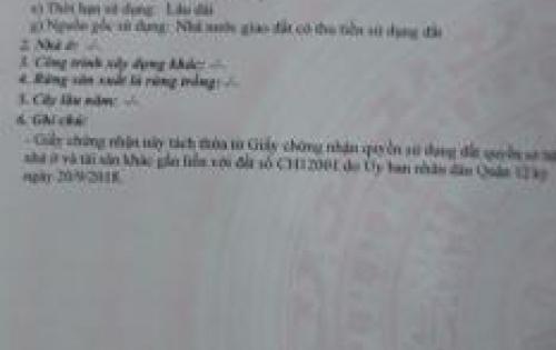 Chính chủ cần bán gấp lô đất ngay đường Võ Thị Thừa Q12, DT: 60m2 giá 2.3 tỷ, đường ô tô, KDC hiện hữu, sổ hồng riêng, 0938957356