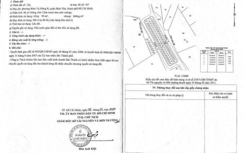 Chính chủ bán đất nền đường Số 7, thuộc KDC Hai Thành - Tên Lửa, Quận Bình Tân, 7 x 14m