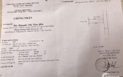 Bán đất xóm chám Định Trung, Vĩnh yên, S=105m2, Hướng Đông, giá 5,4tr/m2. Lh: 0989916263