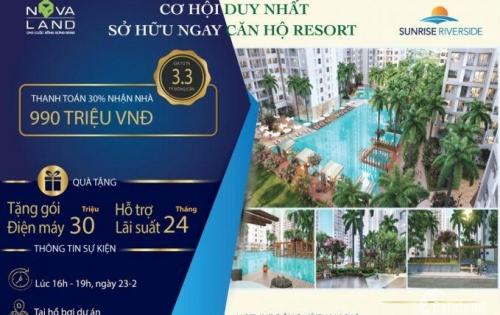 Sở hữu dễ dàng căn hộ 3PN chỉ với 1 tỷ, Sunrise Riverside, LH: 0376037272