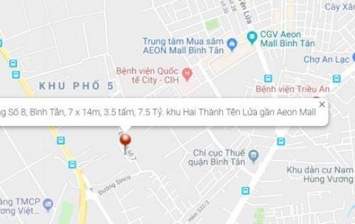 Bán nhà MT đường Số 8, 7 x 14m, 3 tấm, 7.5 tỷ. khu Tên Lửa cách Aeon Mall 3 phút.