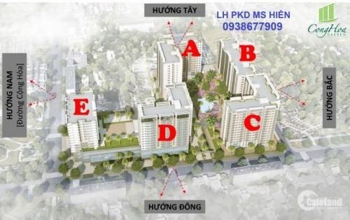 Suất cuối giá rẻ nhất block A dự án Cộng Hoà Garden chỉ 2,569 tỷ, đã VAT 2PN/72m2, LH 0938677909