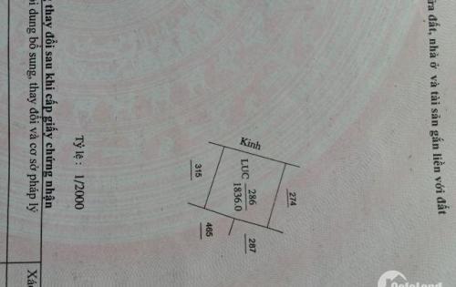 Bán 1136 m2 Đất ( 43x25) Giá Thỏa Thuận Hẻm bê tông 3m liền Ranh TP Bến Tre