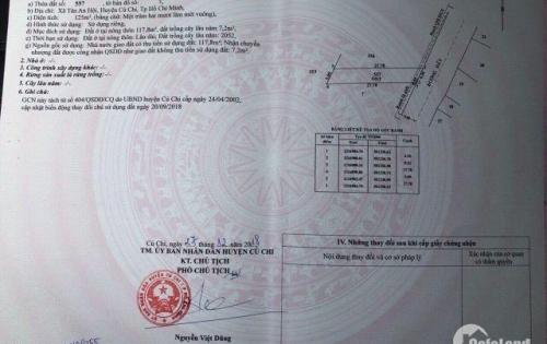 Đất Tân An Hội Củ Chi  200m2 ..100% Thổ Cư Chỉ 650tr.Sổ Hồng Riêng.