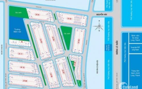 Đất MT Quốc Lộ 51 và Lê Duẩn, thị trấn Long Thành, thổ cư sổ hồng, thanh toán 750 triệu nhận nền