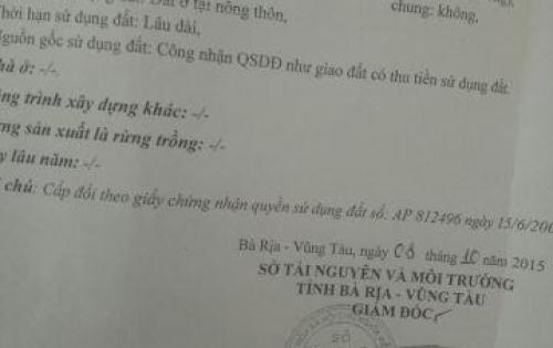 Cần bán gấp lô đất 2 mặt tiền để đi Mỹ tại xã Hòa Long TP. Bà Rịa 0913978697