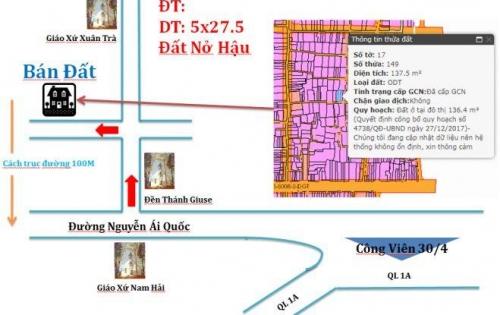 Bán Nhà Đất tại đô thị Hố Nai Biên Hòa 05 x 27.5m ( Sổ Hồng Chính chủ 100%)