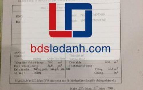 Bán nhà hẻm xe hơi đường Âu Cơ Quận Tân Phú – 5 tỷ 100tr